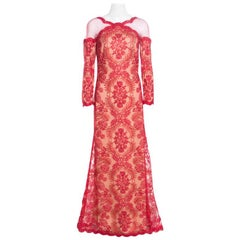 Tadashi Shoji Red Floral Lurex Embroidered Sheer Shoulder Detail Gown M