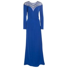 Tadashi Shoji Royal Blue Crepe Embellished Yoke Detail Evening Gown M