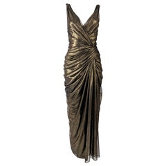 Tadashi Shoji Vintage Sexy Gathered Gold Mesh Evening Gown