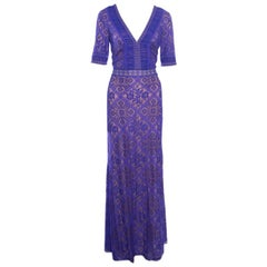 Tadashi Shoji Wisteria Collaged Floral Lace Plunge Neck Landry Evening Gown L