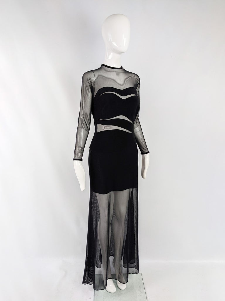 Women's Tadashi Vintage Sexy Black Sheer Mesh Cut Out Bandage Evening Dress