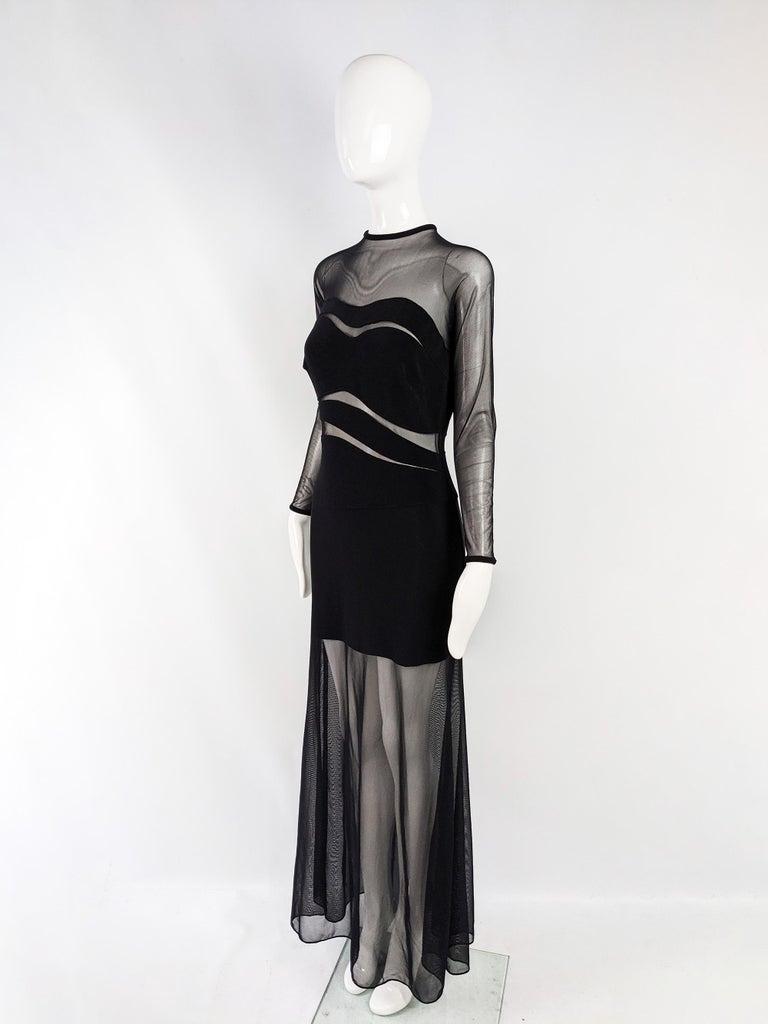 Tadashi Vintage Sexy Black Sheer Mesh Cut Out Bandage Evening Dress 1