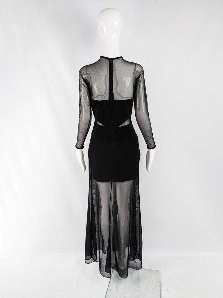 Tadashi Vintage Sexy Black Sheer Mesh Cut Out Bandage Evening Dress 3