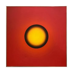 """E-128, 1969"" Red and Yellow Luminous Painting"