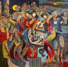 Tadeo Zavaleta ** Mesa Para Dos ** Original Acrylic On Canvas -  Table for two