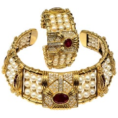 Tadini 18K Yellow Gold, Pearl and Ruby Choker Collar Necklace and Bracelet Set