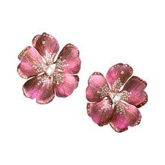 Taffy Pink Titanium Geranium Earrings with Trillion and Round Diamonds