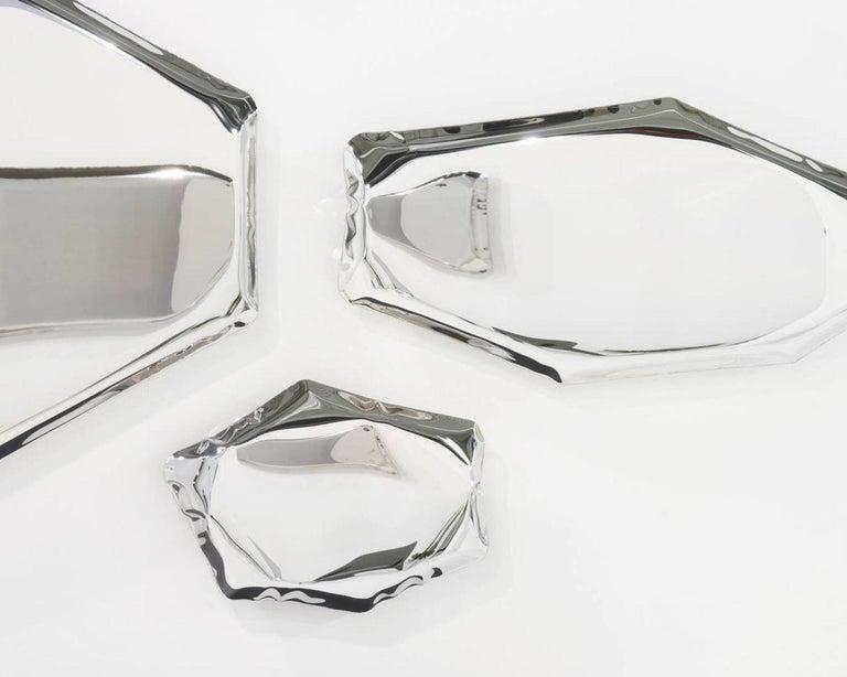 Minimalist Tafla Mirror C3 by Zieta Prozessdesign in Stainless Steel For Sale