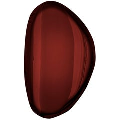 Tafla O2 Polished Rubin Red Color Stainless Steel Wall Mirror by Zieta