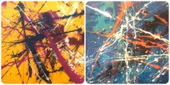 Chaos Series Two Pieces 12x12x2 each Acrylic and Resin on Wood Panel, Abstract