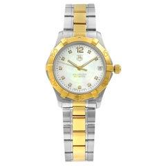 TAG Heuer Aquaracer 18K Gold Diamond MOP Dial Steel Ladies Watch WAF1320.BB0820