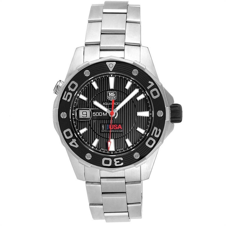 Tag Heuer Aquaracer 43mm Steel Rose Gold Mens Watch WAJ2150. Automatic self-winding movement. Brushed stainless steel case 43.0 mm in diameter. Automatic helium valve at 10 o'clock. Exhibition sapphire crystal case back. Uni-directional rotating