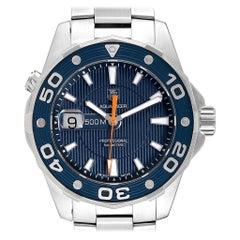 TAG Heuer Aquaracer 500M Blue Dial Orange Hand Steel Men's Watch WAJ1112