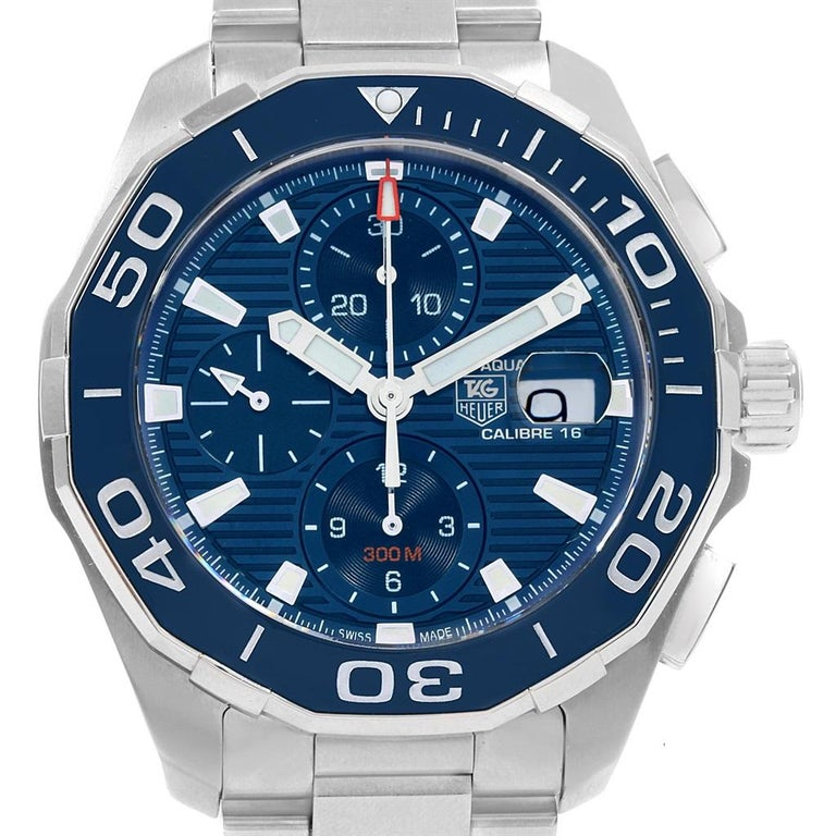 f9d72b93a57 Tag Heuer Aquaracer Blue Dial Chronograph Steel Men's Watch CAY211B Box  Card In Excellent Condition For