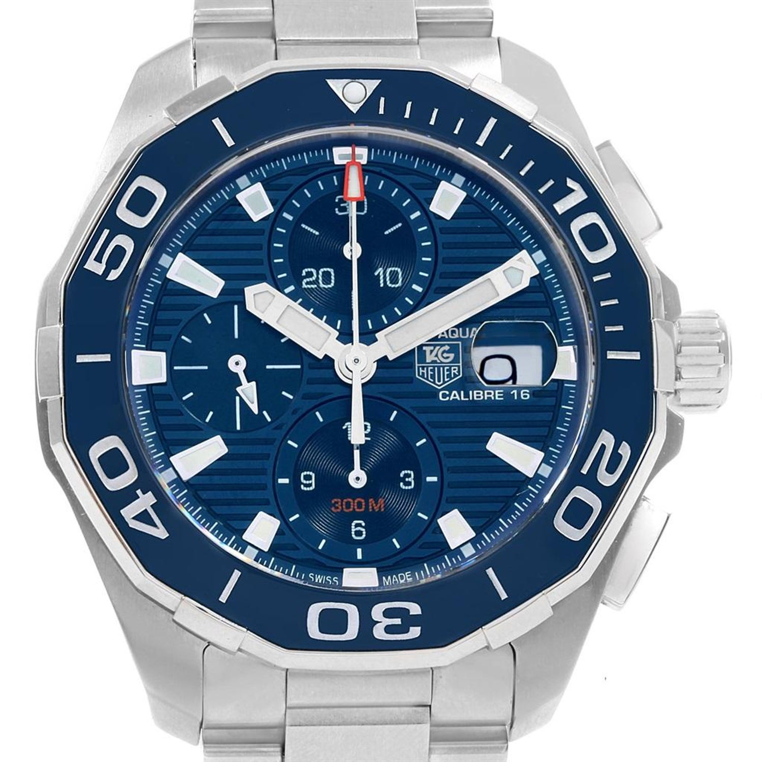 e105171e5ca TAG Heuer Aquaracer Blue Dial Chronograph Steel Men's Watch CAY211B For  Sale at 1stdibs