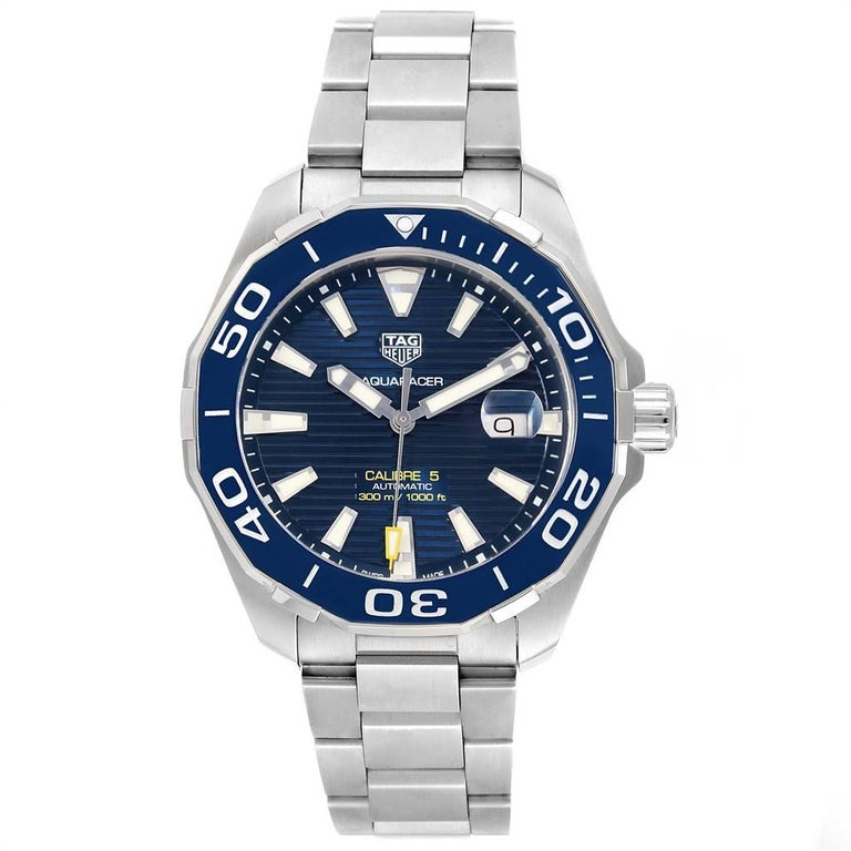 Tag Heuer Aquaracer Blue Dial Steel Mens Watch WAY201B. Automatic self-winding movement. Stainless steel case 43.0 mm in diameter. Exhibition case back. Blue unidirectional rotating bezel. Scratch resistant sapphire crystal. Blue dial with luminous