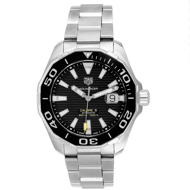 Tag Heuer Aquaracer Calibre 5 Black Dial Steel Mens Watch WAY201A. Automatic self-winding movement. Stainless steel case 43.0 mm in diameter. Black unidirectional rotating bezel. Scratch resistant sapphire crystal. Black dial with luminous hands and
