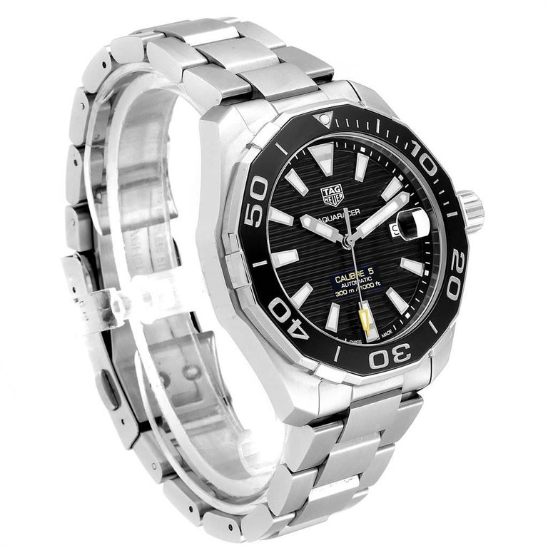TAG Heuer Aquaracer Calibre 5 Black Dial Steel Men's Watch WAY201A In Excellent Condition For Sale In Atlanta, GA