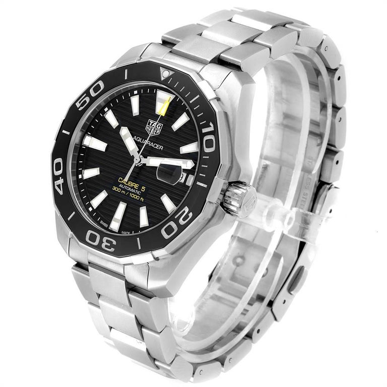 TAG Heuer Aquaracer Calibre 5 Black Dial Steel Men's Watch WAY201A For Sale 1