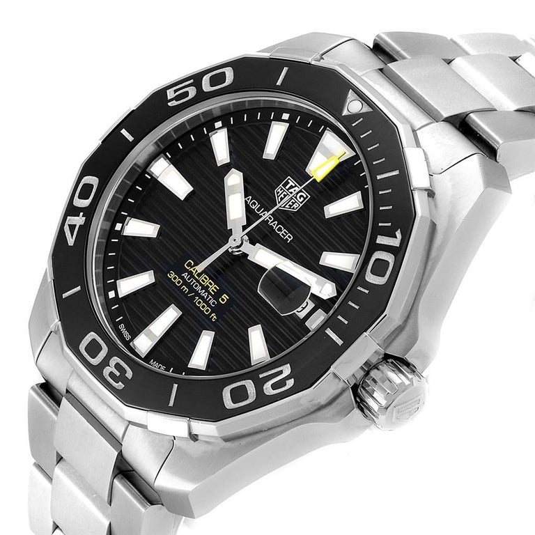 TAG Heuer Aquaracer Calibre 5 Black Dial Steel Men's Watch WAY201A For Sale 2