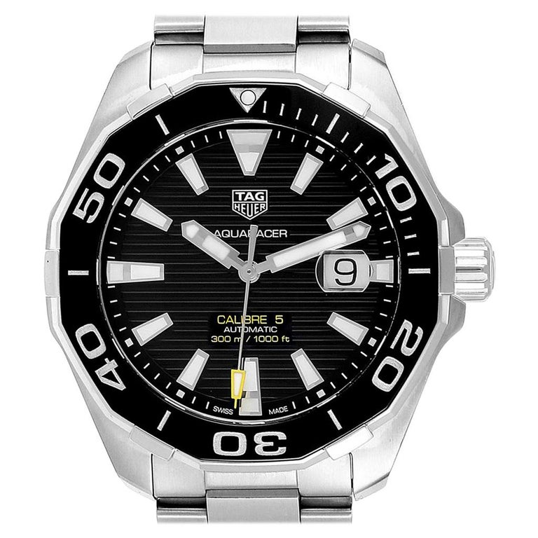 TAG Heuer Aquaracer Calibre 5 Black Dial Steel Men's Watch WAY201A For Sale