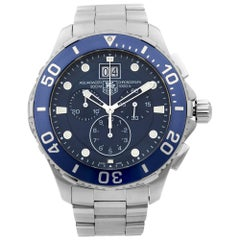 TAG Heuer Aquaracer Grande Date Chrono Steel Blue Dial Mens Watch CAN1011.BA0821