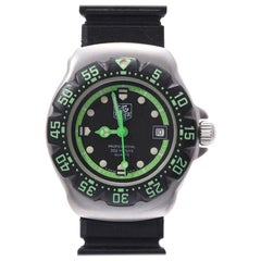Tag Heuer Black/Green Stainless Steel Professional 200M Women's Wristwatch 27 MM