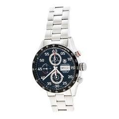 Tag Heuer Black Stainless Steel Carrera CV2A10 Men's Wristwatch 43 mm