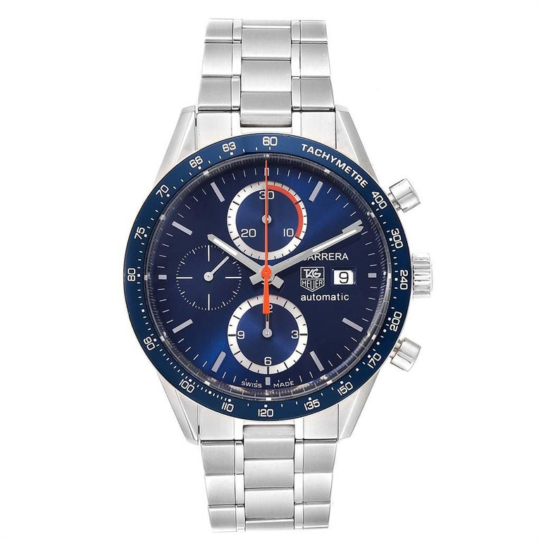 Tag Heuer Carrera 40th Anniversary Legend Mens Watch CV2015 Box Card. Automatic self-winding movement. Polished stainless steel case 41.0 mm. Transperent sapphire crystal back. Blue bezel with tachymeter scale. Scratch resistant sapphire crystal.