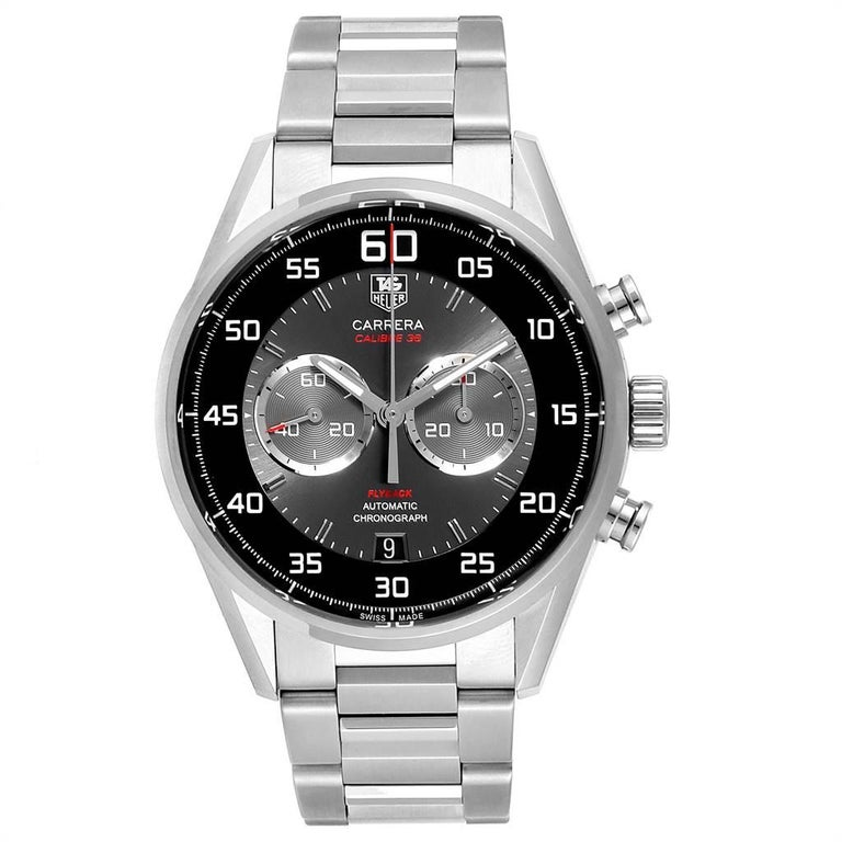 Tag Heuer Carrera Automatic Flyback Steel Mens Watch CAR2B10. Automatic self-winding movement. Stainless steel case 43.0 mm. Transparent exhibition sapphire crystal back. Stainless steel smooth bezel. Scratch resistant sapphire crystal. Black and