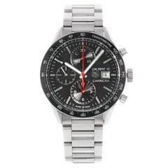 TAG Heuer Carrera Black Dial Chrono Date Steel Automatic Watch CV201AK.BA0727
