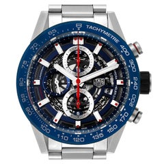 TAG Heuer Carrera Blue Skeleton Dial Chronograph Watch CAR201T Box Card