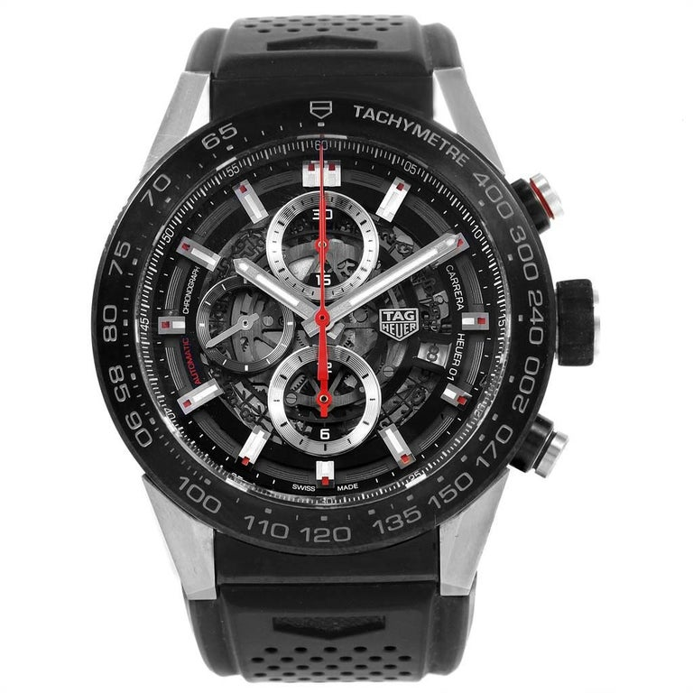 TAG Heuer Carrera Calibre Heuer 01 Skeleton Mens Watch CAR2A1Z Box Card. Automatic self-winding movement. Titanium case 45 mm. Case thickness: 16.5 mm. Exhibition sapphire crystal caseback. Brushed black titanium carbide coated end-pieces. Steel and