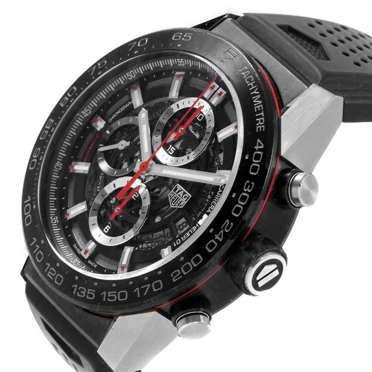 TAG Heuer Carrera Calibre Heuer 01 Skeleton Men's Watch CAR2A1Z Box Card For Sale 2