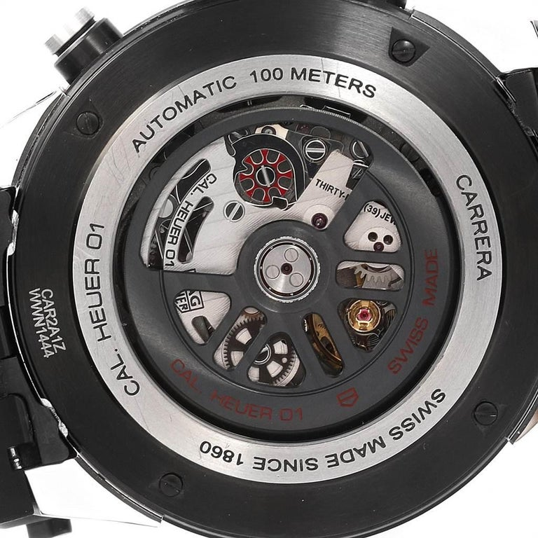TAG Heuer Carrera Calibre Heuer 01 Skeleton Men's Watch CAR2A1Z Box Card For Sale 3