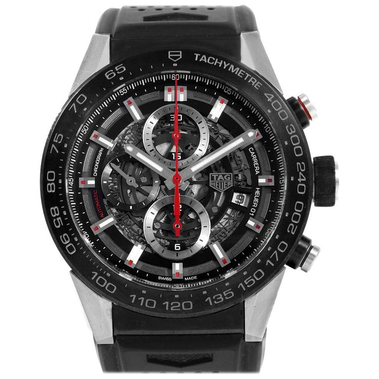 TAG Heuer Carrera Calibre Heuer 01 Skeleton Men's Watch CAR2A1Z Box Card For Sale