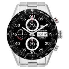 TAG Heuer Carrera Day Date Black Dial Steel Men's Watch CV2A10