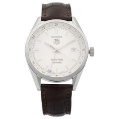 TAG Heuer Carrera Twin-Time Stainless Steel White Dial Men's Watch WV2116.FC6181