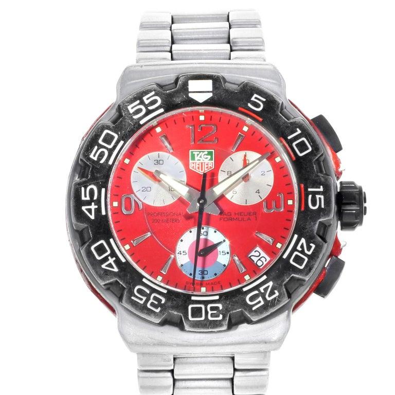 9dba6b6b882 TAG Heuer Formula 1 Red Dial Steel Titanium Quartz Sport Watch  CAC1112.BA0850 For Sale