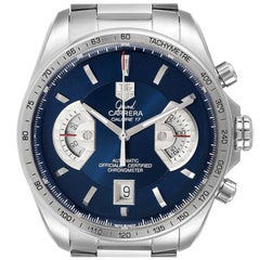 TAG Heuer Grand Carrera Blue Dial Limited Edition Mens Watch CAV511F Box