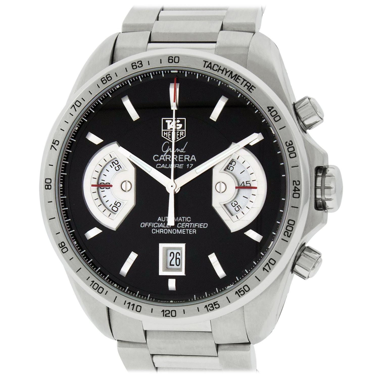 TAG Heuer Grand Carrera CAV511ABA0902 Black Dial Stainless Steel Men's Watch
