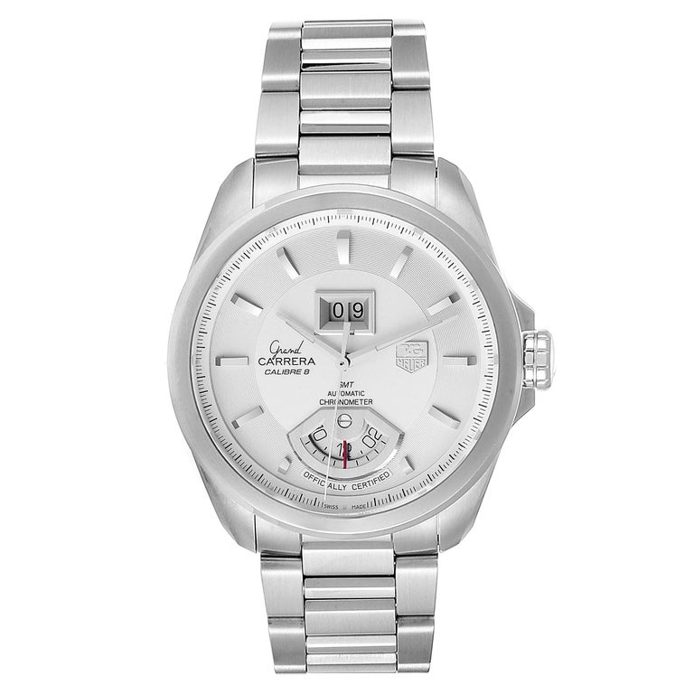 Tag Heuer Grand Carrera GMT Chronograph Mens Watch WAV5112 Box Card. Automatic self-winding movement. Stainless steel case 42.5 mm. Exhibition caseback. Stainless steel bezel. Scratch resistant sapphire crystal. Silver dial with raised index hour