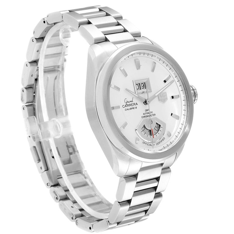 TAG Heuer Grand Carrera GMT Chronograph Men's Watch WAV5112 Box Card In Excellent Condition For Sale In Atlanta, GA