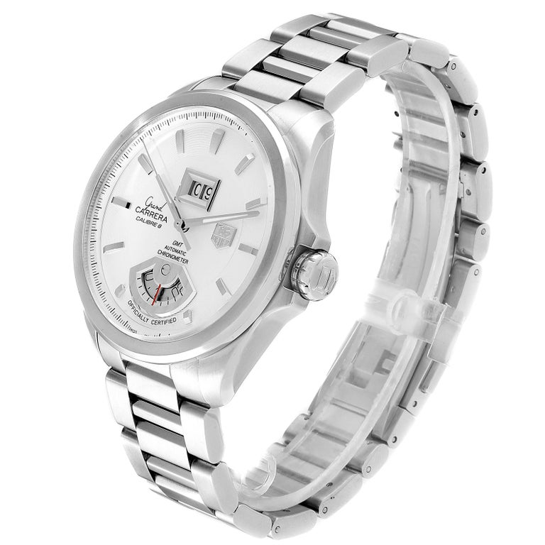 TAG Heuer Grand Carrera GMT Chronograph Men's Watch WAV5112 Box Card For Sale 1