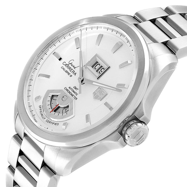 TAG Heuer Grand Carrera GMT Chronograph Men's Watch WAV5112 Box Card For Sale 2