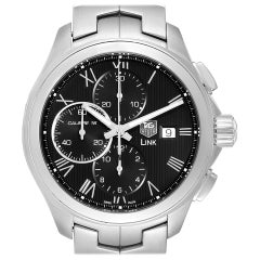 TAG Heuer Link Steel Black Dial Chronograph Men's Watch CAT2012 Box Card