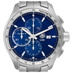 TAG Heuer Link Steel Blue Dial Chronograph Men's Watch CAT2015 Box Papers