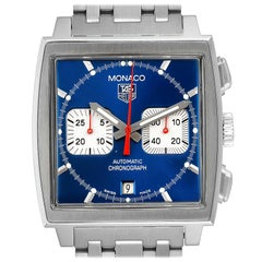 TAG Heuer Monaco Blue Dial Automatic Chronograph Men's Watch CW2113 Papers