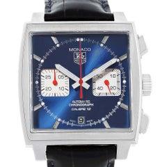 Tag Heuer Monaco Calibre 12 Blue Dial Chronograph Watch CAW2111