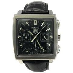Tag Heuer Monaco CW2111 w/ stainless-steel bezel & black dialCertified Pre-Owned